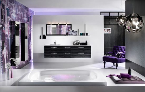 bathroom decor in purple
