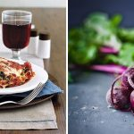 Vegetarian lasagna with beetroot